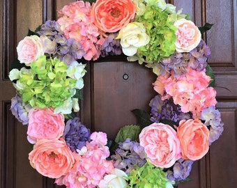 Spring Wreath | Garden Wreath | Front Door Wreath | Outdoor Wreath | Summer Wreath | Garden Rose Wreath| Wreath | Flower Wreath