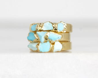 december birthstone ring | raw turquoise ring | organic stone ring | rough turquoise stacking ring | turquoise nugget ring | mineral ring