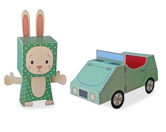 Paper Toy - Rabbit and Car - Play set - Instant Download