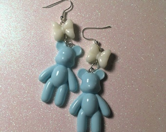 Kawaii Baby Blue & White Pastel Bear Earrings