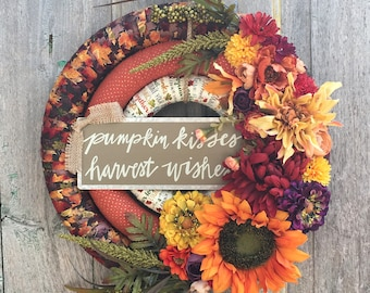 Autumn Floral Wreath, Fall Floral Wreath, Fall Front Door Wreath, Fall Fabric Wrapped Wreath, Thanksgiving Wreath, Front Door Floral Wreath