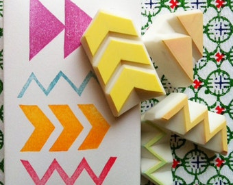 geometric pattern stamps | chevron arrow zigzag stamp | diy gift wraps | birthday card making | hand carved by talktothesun | set of 4