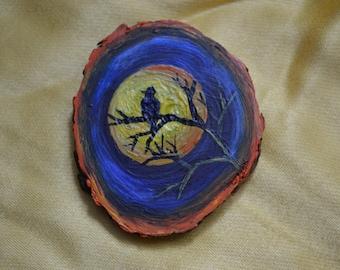 Wooden Brooch, wood, night, jewerly, woodwork, handmade, handicraft, moon, bird
