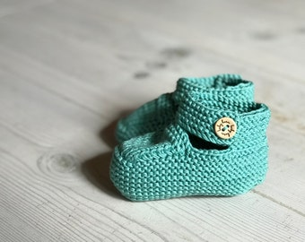 Organic Cotton Booties | Mint Green | Hand Knit, Neutral Baby Shower Gift, Newborn Baby Gift