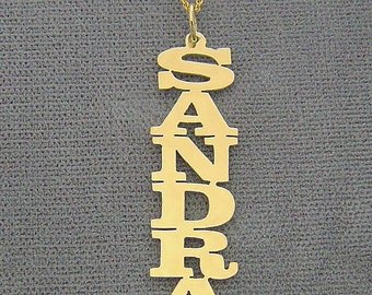 10k or 14k Yellow or White Solid Gold Personalized Vertical Name Pendant Necklace Laser Cut NN07