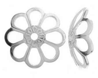 Sterling Silver 8mm Flower Bead Caps For Jewellery Making PK10 PK50