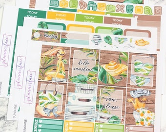 Sunshine | Planner Sticker Kit, Weekly Kit for Erin Condren, Summer, Tropical, Floral, Flowers, Leaves, Foliage, Wood, Travel, Vacation