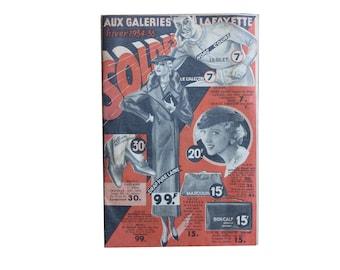 Vintage department store catalogue, 1934/5 Galeries Lafayette winter sales, fashion, accessories, housewares