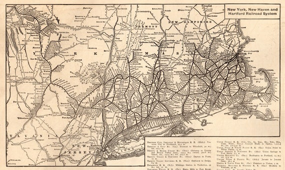 1917 Antique New York New Haven Hartford RAILROAD Map Print