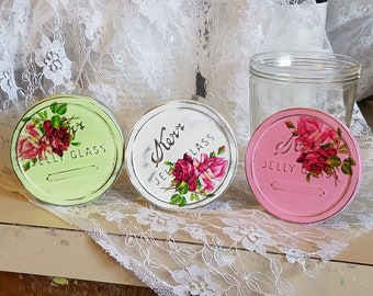 chic home decor jelly jars, shabby chic glass jelly jars vintage home decor, cottage chic home decor kerr jelly glass jars, roses pink white