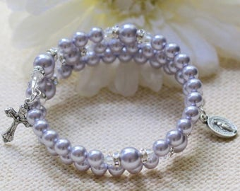 Wrap Rosary Bracelet in Lavender Pearls and Silver