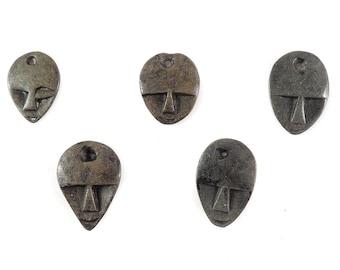 5 Shona Pendants Stone Abstract Faces Zimbabwe Africa 121453