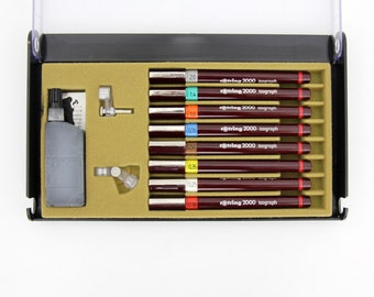 Vintage Rotring 2000 Isograph Technical Drawing Lettering Pen Set of 8 Pens / 0.18mm 0.25 mm 0.35 mm 0.50 mm 0.70 mm 1.0 mm 1.4 mm 2.0 mm