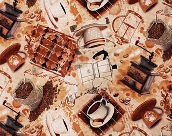 Coffee Mug Cup Cappuccino  Americano Fabric by Timeless Treasures Fabric by the Half Yard