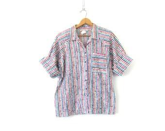 Striped Short Sleeve Shirt Retro 1980s Summer Button Down Collar Oxford Pocket Blouse Women's Plus Size 18