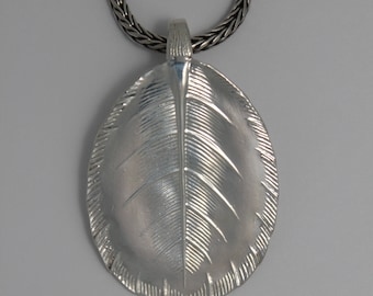 Chain pendant silver leaf form from old silver plated spoon