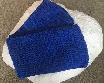 Handmade Cobalt Blue Infinite Crocheted Scarf, Circle Scarf, Crocheted Scarf,Blue Infinity Scarf, Blue Loop Scarf, Chunky Infinity Scarf