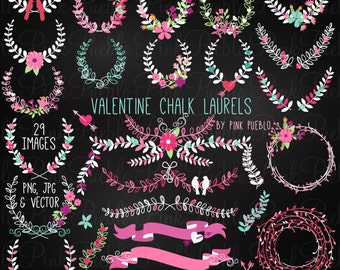 Valentine's Day Chalkboard Laurel Clip Art Clipart, Wedding Bridal Chalk Floral Clipart Clip Art Vectors - Commercial and Personal Use