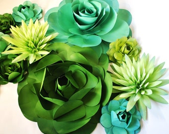 Gigantic Wall of Paper Succulents | Wedding Backdrop, Succulent Decor, Flower Wall Hangings, Large Paper Flowers: Green, Jade and Yellow