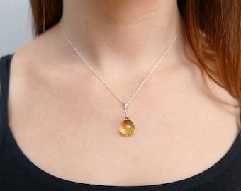 Lemon quartz jewelry etsy raw crystal necklace lemon quartz necklace quartz pendant crystal pendant gemstone necklace mozeypictures Images