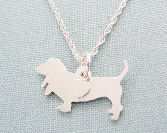 Basset Hound Dog Necklace, Sterling Silver Personalize Pendant, Breed Silhouette Charm Rescue Shelter, Mothers Day Gift