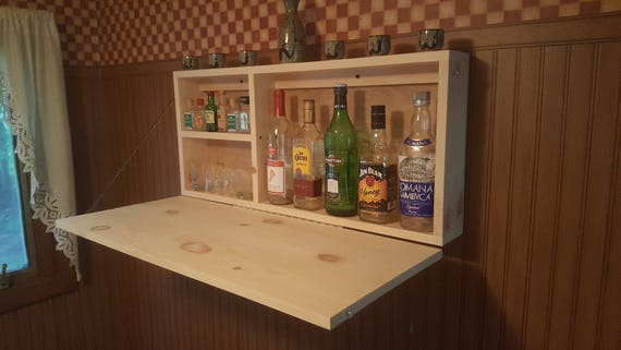 Murphy Bar Unfinsihed Man Cave Wall Mount Liquor Cabinet Fold