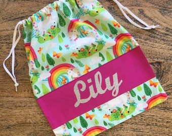 Personalised Name Daycare Swimming Toy Dancing Lego Kindergarten School Library Drawstring Tote Bag Unicorn Rainbow Bright