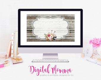 Printable Blank, DIY Rustic Wood Floral Business Card, .JPG, Instant Download!
