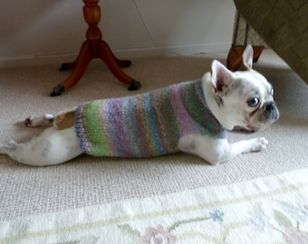 Hand knitted dog jumper perfect for French Bulldogs and Pugs
