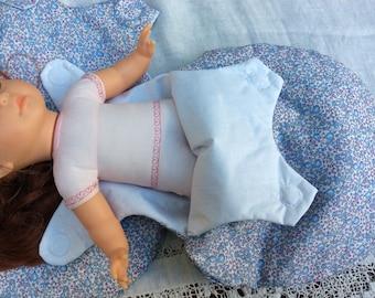 Doll sleeping bag for summer clothes blue Liberty Eloise doll 36 cm