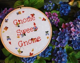 Gnome Sweet Gnome Funny Pun New Home Decor Gift Embroidery Hoop