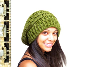 Crochet Slouchy Hat, Tam Hat, Ribbed Hat, Beehive Hat, Crochet Hat, Color is Olive,