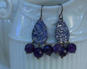 Amethyst earring, purple earring, violet earring, dangle earring, gemstone earring, boho earring, embossed flower, gift for women