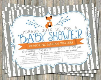 Birch tree fox baby shower invitation, typography baby shower invitation, orange and blue, digital, printable file