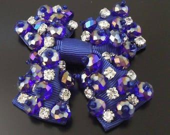 Vintage purple beads bow applique and rhinestones 70 * 62mm