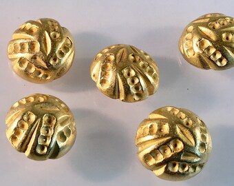 """1 1/8"""" Gold Dome Shank button, Vintage button, Round Gold button, Gold Shank, Dome Button, Gold Button, Textured Surface, Carved Look"""