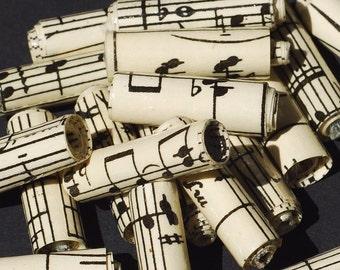 Musique papier perles - 15 partitions vintage perles, papier recyclé, roulé perles de papier