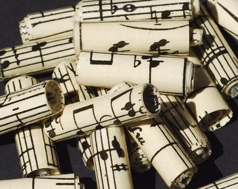 Music Paper Beads- 15 vintage sheet music beads, recycled paper beads, rolled paper beads