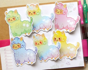 Alpaca Stickers Set of 6 (Large), Kawaii Stickers, Llama Stickers, Alpaca Stickers, Planner Stickers, Animal Stickers, Waterproof Stickers