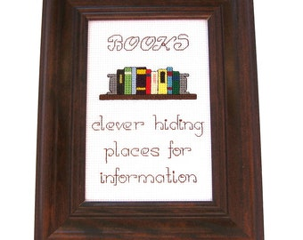 "Cross Stitch Funny Sampler ""BOOKS"""