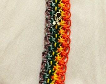 Rainbow Macrame Hemp Key Chain with Hope Key Chain