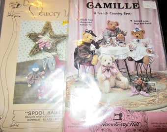 """stuffed 18"""" Bears & clothes 2 Patterns  8"""" bunny baby dolls / toys"""