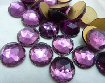 Vintage Glass Rhinestone Rauten Rose Cut Glass Rhinestone 13mm Faceted Rhinestone Amethyst (4) C211