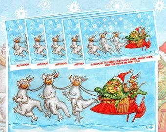 Star Wars Jabba the Hutt Santa Claus Christmas postcard set of 20