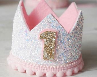 Sparkling White & Pink Birthday Crown, 1st Birthday, 2nd Birthday, Princess Birthday, Cake Smash, Photo Prop