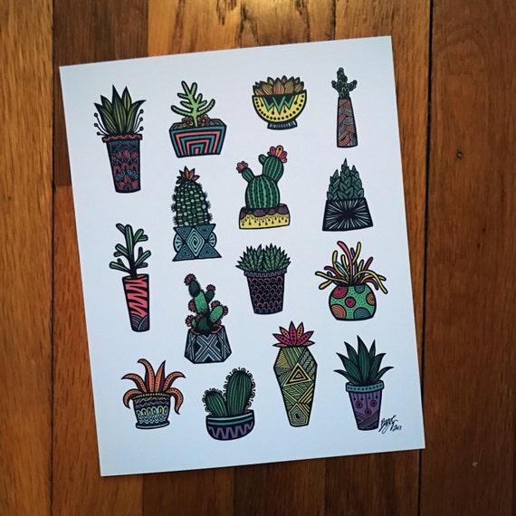 Zentangle - Little Colored Succulents