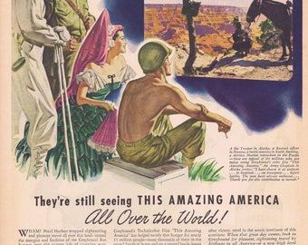 1944 WW2 This Amazing America Film by Greyhound or Seagram's 5 Crown Whiskey Type Your Troubles Original Vintage Ad