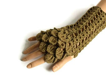 Khaki Dragon Scale Gloves, Army Green Gloves, Olive Green Fingerless Gloves, Bamboo Gloves, Lacy Look Gloves, Crochet Gloves, Gifts for Her