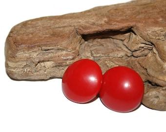 Rockabilly Earrings, Vintage Rockabilly Jewelry, Button Earrings, Round Earrings, Red Earrings, Red Jewelry, Pin Up Girl, Feminist