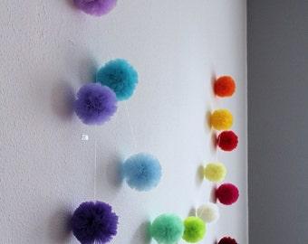 Baby Room Garland - Pom Pom Garland - Tulle Pom Pom - Window Garland - Baby Rainbow Garland - Nursery Decor - Nursery Garland